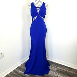 Sequin Hearts   Blue Mesh Back Evening Gown 11